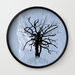 Gnarled Tree and Lightning Wall Clock