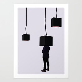 head in the lamp Art Print