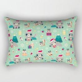 Holiday Woodland Animal Surface Pattern Design - Mint / Cute Animal Rectangular Pillow