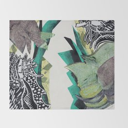 Monoprint Collage Throw Blanket