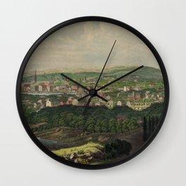 Vintage Pictorial Map of Bridgeport CT (1857) Wall Clock