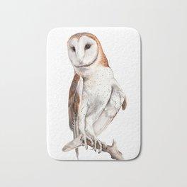 Barn Owl Watercolor Bath Mat