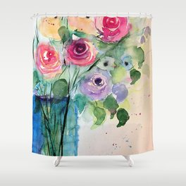 Colourful Bouquet Of Roses Shower Curtain