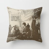 boardwalk empire Throw Pillows featuring boardwalk by Nechifor Ionut