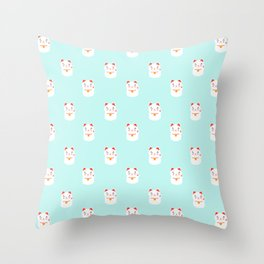 Lucky happy Japanese cat pattern Throw Pillow