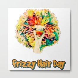 Frizzy Hair Day- Rainbow Hair Ostrich  Metal Print