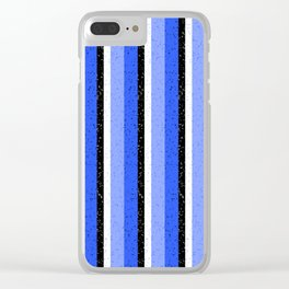 Speckled Blue Vertical Line Pattern Clear iPhone Case