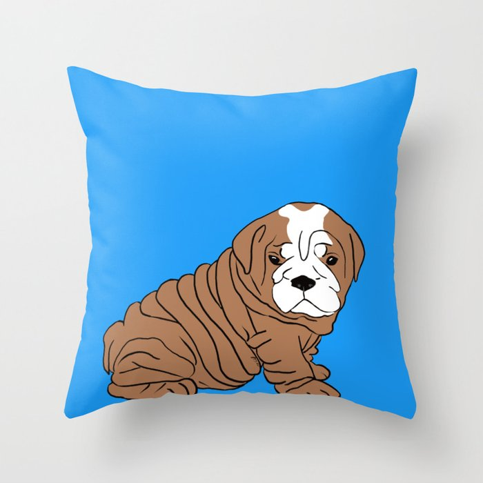 Bulldog Puppy Throw Pillow