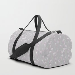 Gray lilac floral pattern . Duffle Bag