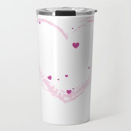 Pink, purple and white Heart graphic design love and passion theme with stylish hearts and flowers Travel Mug