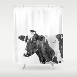 Cow Photography Animal Art | Minimalism black and white | black-and-white | Peek-a-boo Shower Curtain