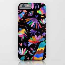 Otomi animals and flowers colorful iPhone Case