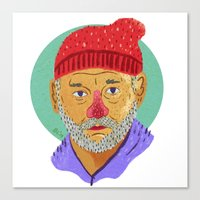 steve zissou Canvas Prints featuring Steve Zissou  by Barry Lee