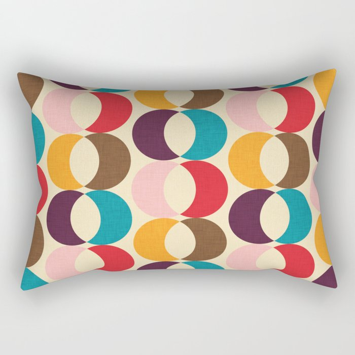 Mid Century Modern Circles Rectangular Pillow