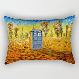 Blue phone Booth at Fall Grass Field Painting Rectangular Pillow
