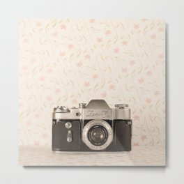 Zenit 3 Camera Film on Pink Flower Background Pearls on Book ( Vintage Still Life Photography)  Metal Print