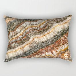 Agate Crystal // Red Gray Black Yellow Orange Marbled Diamond Luxury Gemstone Rectangular Pillow