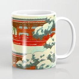Vintage Japanese Woodblock Print Red Snow Pagoda Garden Coffee Mug