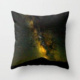 Beautiful Yellow Milky way Galaxy At Night Stars Sky Landscape Photography Throw Pillow