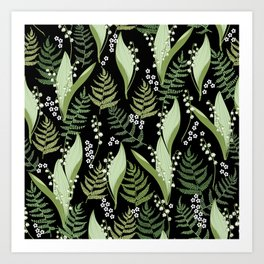 Lilies of the valley and fern Art Print