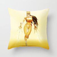 power ranger Throw Pillows featuring Yellow Ranger by Isaiah K. Stephens