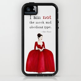 Outlander Claire Fraser Red Dress Not Obedient Quote Watercolor iPhone Case