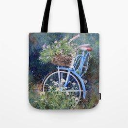 Blue Bicycle Between the Weeds Tote Bag