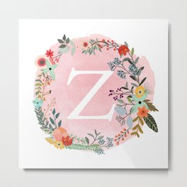 Flower Wreath with Personalized Monogram Initial Letter Z on Pink Watercolor Paper Texture Artwork Metal Print
