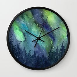 Galaxy Aurora Northern Lights Nebula Space Watercolor Wall Clock