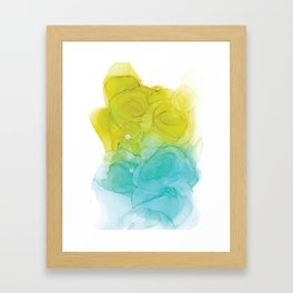 Blue & Green Alcohol Ink Painting Framed Art Print