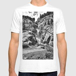 waterfall rope bridge kaunertal alps tyrol austria europe black white 2 T-shirt