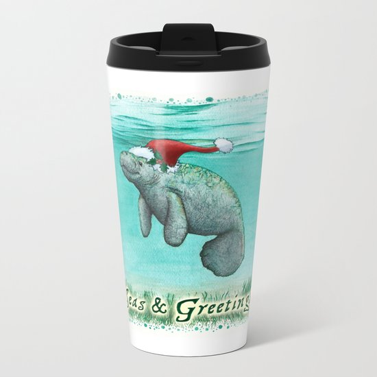 Seas and Greetings ~ Mossy Manatee ~ Watercolor Metal Travel Mug