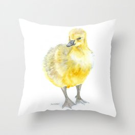 Baby Gosling Goose Watercolor Throw Pillow