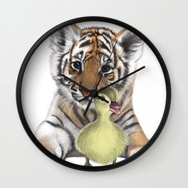 Tiger Cub and Duckling Wall Clock