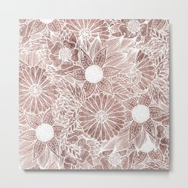 Floral Rose Gold Flowers and Leaves Drawing White Metal Print
