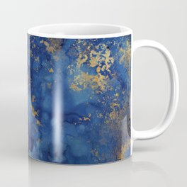 Night Blue And Gold Marbled Texture Coffee Mug