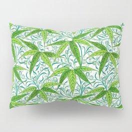 William Morris Bamboo Print, Green and White Pillow Sham