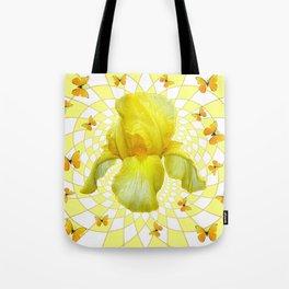 YELLOW BUTTERFLIES & YELLOW IRIS WHITE PATTERN ART Tote Bag