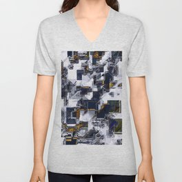geometric square pixel art abstract in brown and black Unisex V-Neck