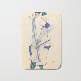 "Egon Schiele ""Rückenansicht eines Mädchens im blauen Rock (Back view of  a girl in a blue dress)"" Bath Mat"