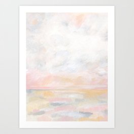 Ecstatic - Pink and Yellow Pastel Seascape Art Print