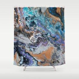 Molten Time (flow art on canvas) Shower Curtain
