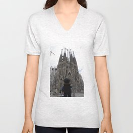 The little Backpacker visiting Sagrada Família in Barcelona  Unisex V-Neck