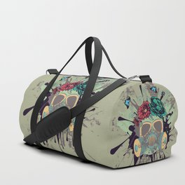 Green Gas Mask with Roses Duffle Bag