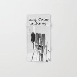 Microphone black and white Hand & Bath Towel
