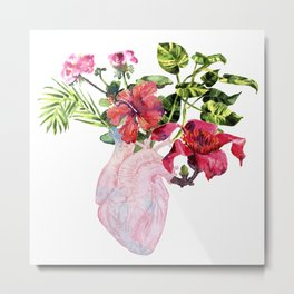 Human heart with flowers, plant and leaf, watercolor Metal Print