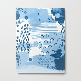 Yesta - abstract painting indigo blue dots mark making canvas painting Metal Print