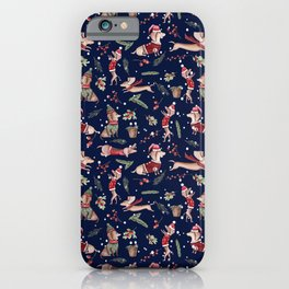 Dachshund in the snow on blue iPhone Case