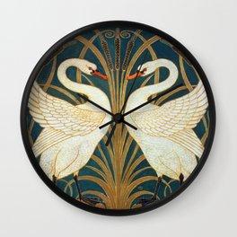 Walter Crane Swan, Rush And Iris Wall Clock
