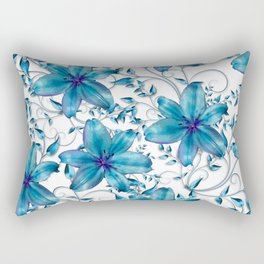 LILY AND VINES BLUE AND WHITE PATTERN Rectangular Pillow
